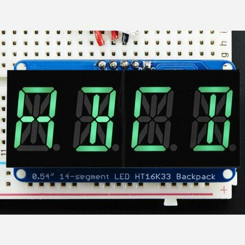Quad Alphanumeric Display - Pure Green 0.54 Digits w/ Backpack