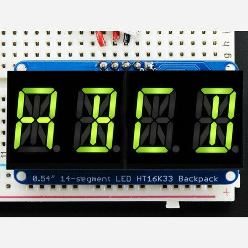 Quad Alphanumeric Display -Yellow-Green 0.54 Digits w/ Backpack
