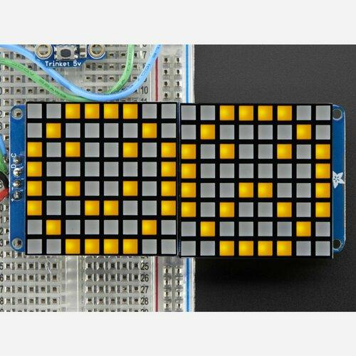 16x8 1.2 LED Matrix + Backpack -Ultra Bright Square Yellow LEDs