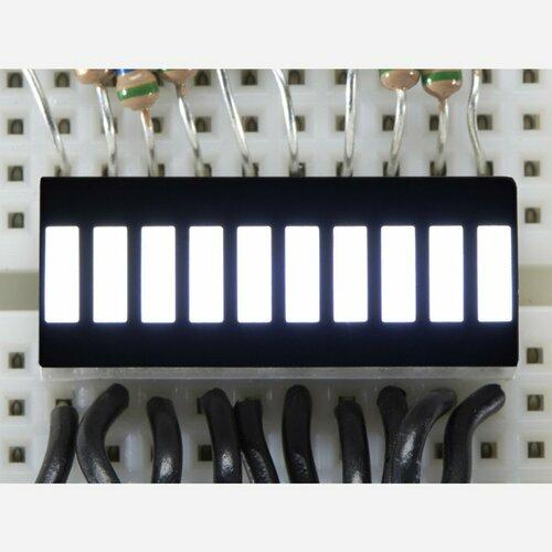 10 Segment Light Bar Graph LED Display - White [KWL-R1025WB-Y]