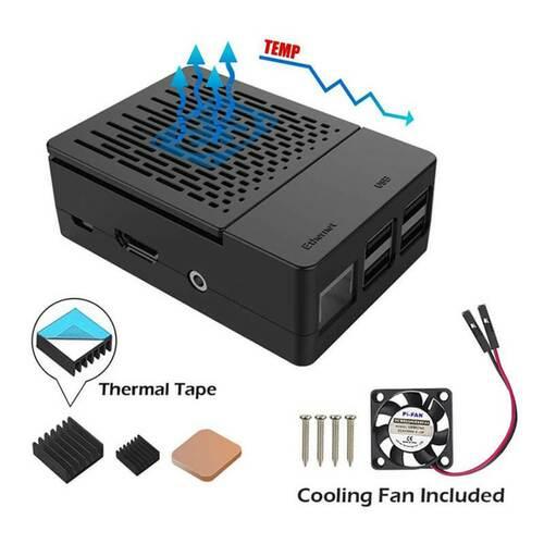 Raspberry Pi 3B+ Case with Cooling Fan + Heatsinks