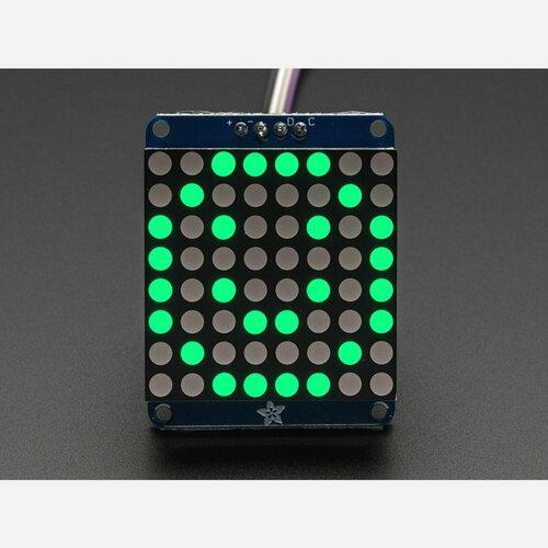 Adafruit Small 1.2 8x8 LED Matrix w/I2C Backpack - Pure Green