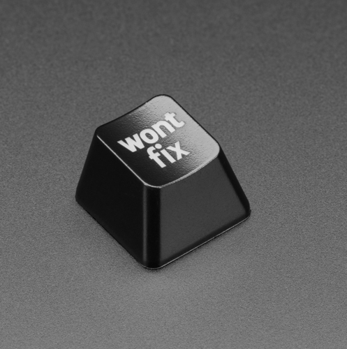 """Etched Glow-Through Keycap with """"wont fix"""" Text - MX Compatible Switches"""