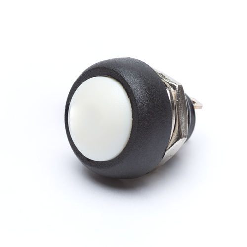 12mm Momentary Push Button Dome - White