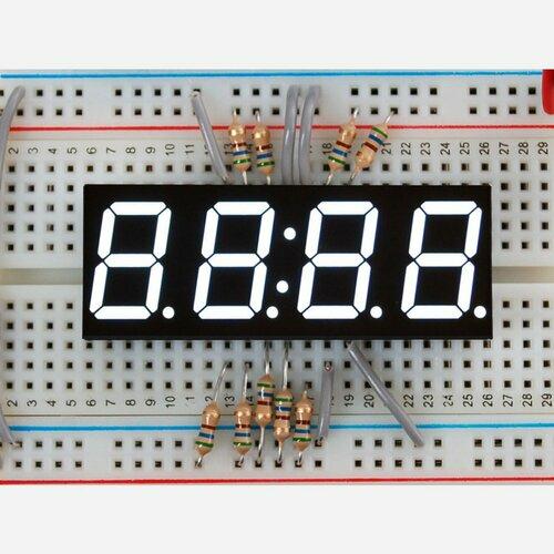 White 7-segment clock display - 0.56 digit height