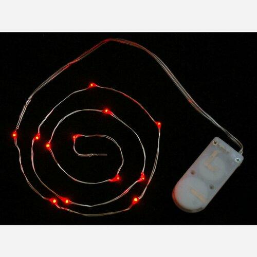 Wire Light LED Strand - 12 Red LEDs + Coin Cell Holder