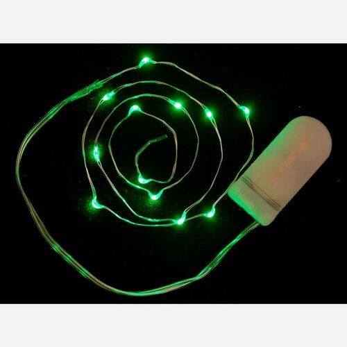 Wire Light LED Strand - 12 Green LEDs + Coin Cell Holder
