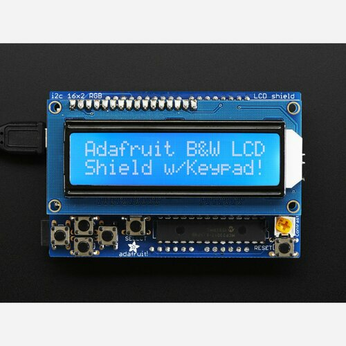 LCD Shield Kit w/ 16x2 Character Display - Only 2 pins used! [BLUE AND WHITE]