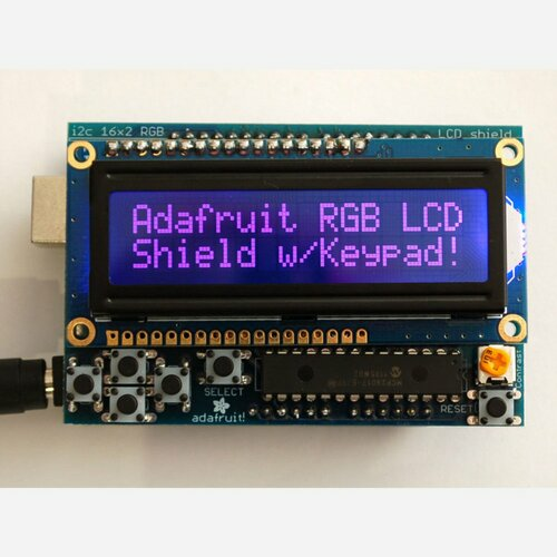 RGB LCD Shield Kit w/ 16x2 Character Display - Only 2 pins used! [NEGATIVE DISPLAY]