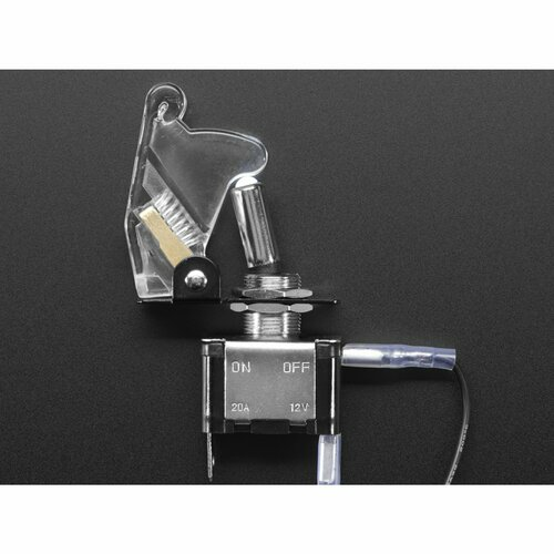 Illuminated Toggle Switch with Cover - White / Clear