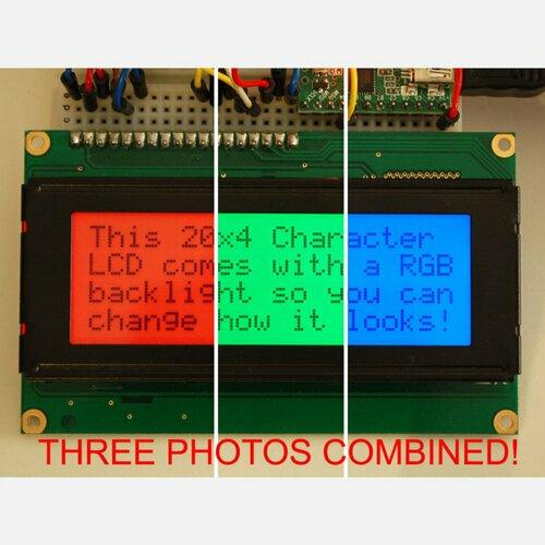 RGB backlight positive LCD 20x4 + extras [black on RGB]