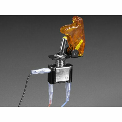 Illuminated Toggle Switch with Cover - Yellow