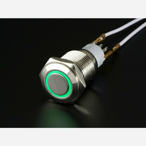 Rugged Metal On/Off Switch with Green LED Ring [16mm Green On/Off]