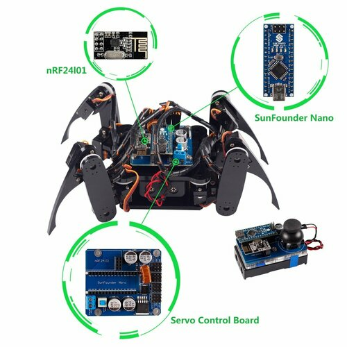 Crawling Quadruped Robot Kit for Arduino