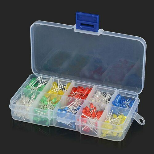 300pcs 3mm and 5mm LED Light Assorted Kit with Case