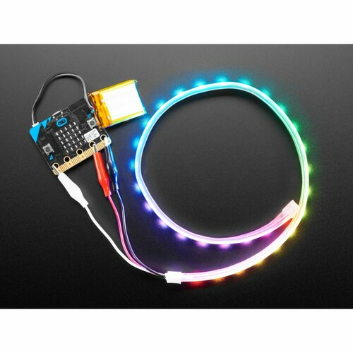 Adafruit NeoPixel LED Strip w/ Alligator Clips - 60 LED/m - 0.5 Meter Long - Black Flex